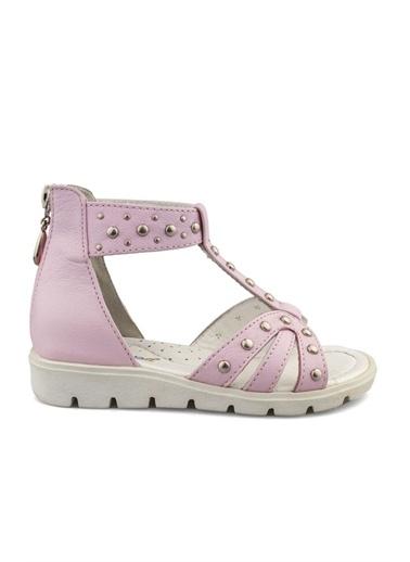 Cici Bebe Ayakkabı Cicibebe Deri  Zımbalı  Kız Çocuk Sandalet Pembe